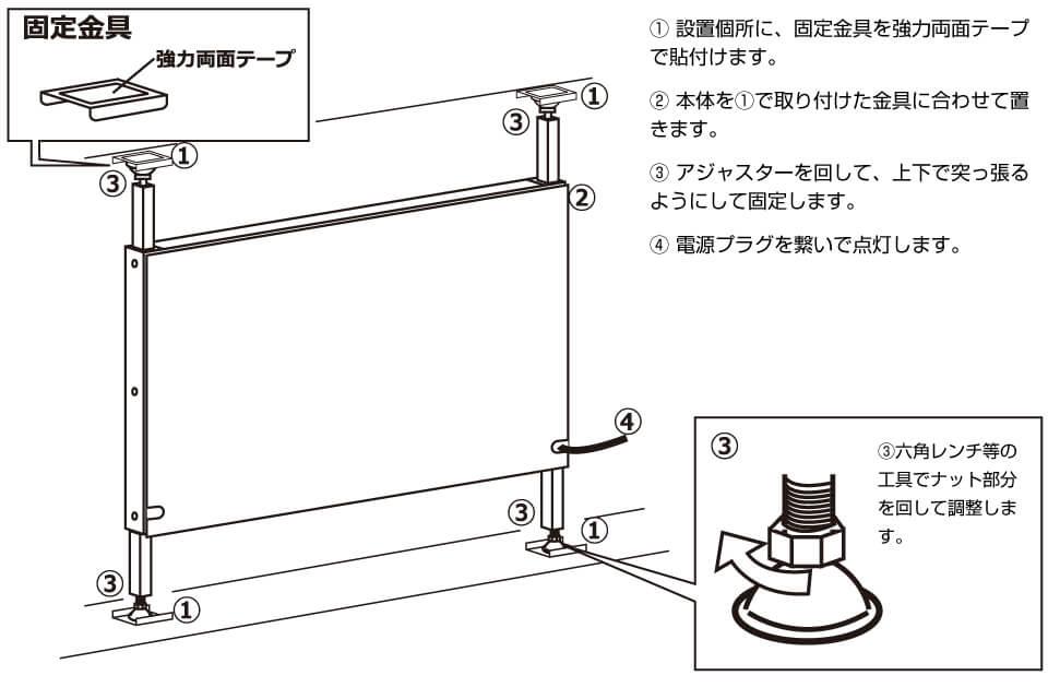 窓面電飾看板の設置方法