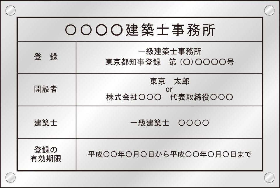 一級建築士事務所登録票