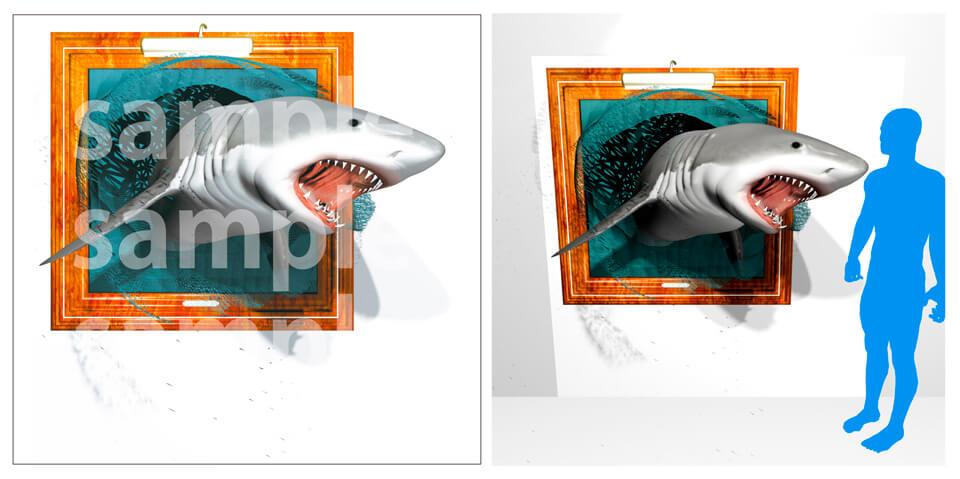 7.サメが飛び出してくるトリックデザインアート