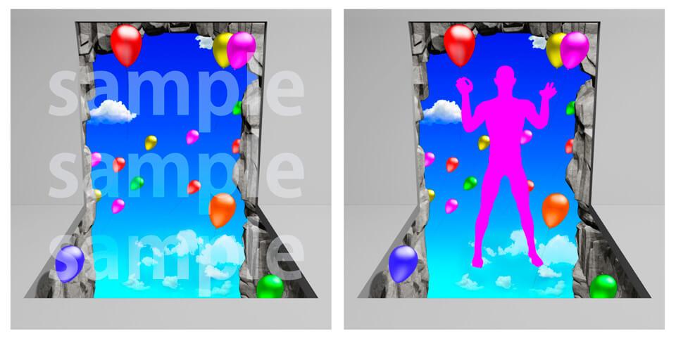 10.風船で空を飛ぶトリックデザインアート